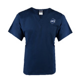 Unisex Navy V Neck Tunic Scrub with Chest Pocket-UNCG Shield