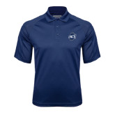 Navy Textured Saddle Shoulder Polo-UNCG Shield