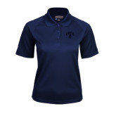 Ladies Navy Textured Saddle Shoulder Polo-Arched UNCG w/Spartan
