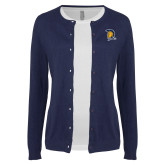 Ladies Navy Cardigan-Spartan Logo