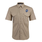 Khaki Short Sleeve Performance Fishing Shirt-UNCG Shield