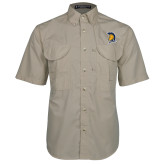 Khaki Short Sleeve Performance Fishing Shirt-Spartan Logo