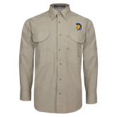 Khaki Long Sleeve Performance Fishing Shirt-Spartan Logo