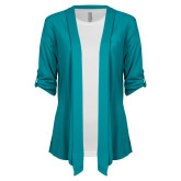 Ladies Teal Drape Front Cardigan-Arched UNCG w/Spartan