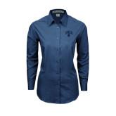 Ladies Deep Blue Tonal Pattern Long Sleeve Shirt-Arched UNCG w/Spartan