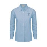 Ladies Light Blue Oxford Shirt-Arched UNCG w/Spartan