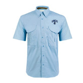 Light Blue Short Sleeve Performance Fishing Shirt-Arched UNCG w/Spartan