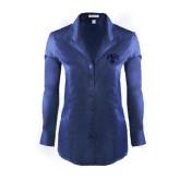 Ladies Red House Deep Blue Herringbone Non Iron Long Sleeve Shirt-Arched UNCG w/Spartan