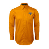 Gold Twill Button Down Long Sleeve-Arched UNCG w/Spartan