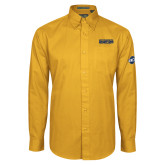 Gold Twill Button Down Long Sleeve-Baseball SoCon Champions 2017 Text