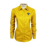Ladies Gold Twill Button Down Long Sleeve-Arched UNCG w/Spartan