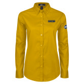 Ladies Gold Twill Button Down Long Sleeve-Baseball SoCon Champions 2017 Text