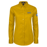 Ladies Gold Twill Button Down Long Sleeve-2018 Mens Basketball Champions
