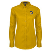 Ladies Gold Twill Button Down Long Sleeve-Spartan Logo