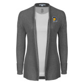 Ladies Heather Grey Open Front Cardigan-Spartan Logo