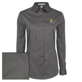 Ladies Grey Tonal Pattern Long Sleeve Shirt-Spartan Logo