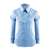 Ladies Red House Light Blue Long Sleeve Shirt-Arched UNCG w/Spartan