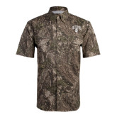Camo Short Sleeve Performance Fishing Shirt-Arched UNCG w/Spartan