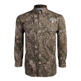 Camo Long Sleeve Performance Fishing Shirt-Arched UNCG w/Spartan