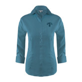 Ladies Red House Teal 3/4 Sleeve Shirt-Arched UNCG w/Spartan