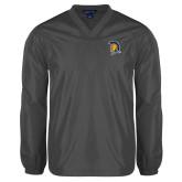 V Neck Charcoal Raglan Windshirt-Spartan Logo