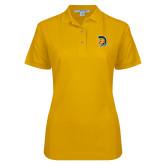 Ladies Easycare Gold Pique Polo-Spartan Logo