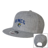 Heather Grey Wool Blend Flat Bill Snapback Hat-Arched UNCG w/Spartan