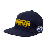 Navy OttoFlex Flat Bill Pro Style Hat-Baseball SoCon Champions 2017 Text