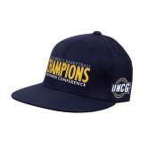 Navy OttoFlex Flat Bill Pro Style Hat-2018 Mens Basketball Champions
