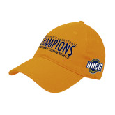 Gold Twill Unstructured Low Profile Hat-2018 Mens Basketball Champions