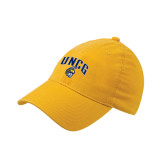 Gold Flexfit Mid Profile Hat-Arched UNCG w/Spartan