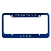 Metal Blue License Plate Frame-UNCG Engraved