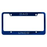 Dad Metal Blue License Plate Frame-UNCG Engraved