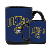 Full Color Black Mug 15oz-Arched UNCG w/Spartan