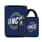 Full Color Black Mug 15oz-UNCG Shield