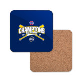 Hardboard Coaster w/Cork Backing-Baseball SoCon Champions 2017 - Crossed Sticks