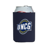 Collapsible Navy Can Holder-UNCG Shield