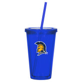 Madison Double Wall Blue Tumbler w/Straw 16oz-Spartan Logo