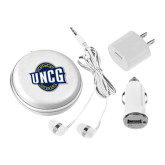 3 in 1 White Audio Travel Kit-UNCG Shield