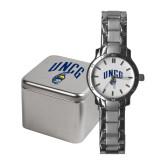 Ladies Stainless Steel Fashion Watch-Arched UNCG w/Spartan