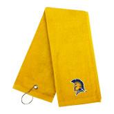 Gold Golf Towel-Spartan Logo