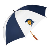 62 Inch Navy/White Vented Umbrella-Spartan Logo