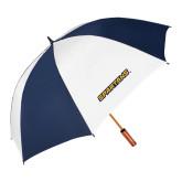 62 Inch Navy/White Vented Umbrella-Spartans Wordmark