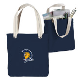 Allie Navy Canvas Tote-Spartan Logo