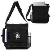 Impact Vertical Black Computer Messenger Bag-Spartan Logo