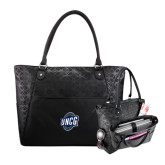 Sophia Checkpoint Friendly Black Compu Tote-UNCG Shield