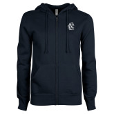 ENZA Ladies Navy Fleece Full Zip Hoodie-Monogram