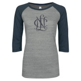ENZA Ladies Athletic Heather/Navy Vintage Baseball Tee-Monogram Graphite Soft Glitter