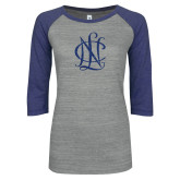 ENZA Ladies Athletic Heather/Blue Vintage Baseball Tee-Monogram Dark Blue Glitter