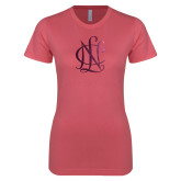 Next Level Ladies SoftStyle Junior Fitted Pink Tee-Monogram  Foil